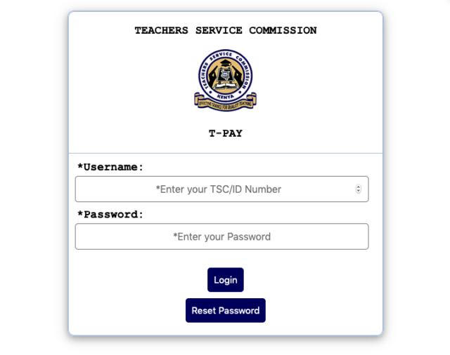 TSC online Pay Slip Download/ TSC T-pay log in portal